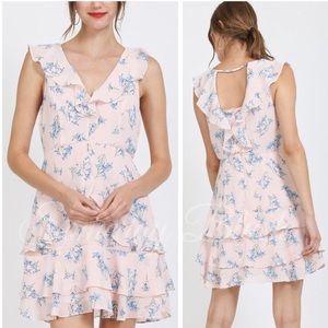 Blush Floral Sleeveless Ruffle Dress